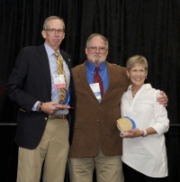 Jim Welch and Caryl Griffin from the Elizabeth R. Griffin Foundation with the new ABSA president, Pat Condreay, PhD, RBP, 2017 ABSA International Conference
