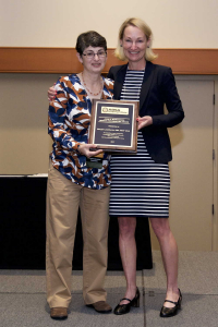 Maureen O'Leary presenting the John H. Richardson Special Recognition Award to Maryjo Lanzillotta, 2017 ABSA International Conference