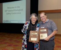 Rebar, Richard, RBP, CBSP and Dee Zimmerman with thier awards, 2017 ABSA International Conference