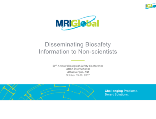 ABSA1718B – Disseminating Biosafety Information to the Nonscientist